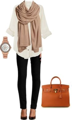 White shirt, neutral scarf and black skinny jeans with brown bag