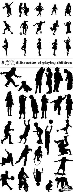 Vectors - Silhouettes of playing children