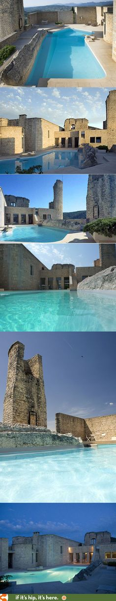 The pool at Chateau of Crestet (a remodeled Monastery by architect Roger Ange)