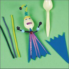 plastic spoon puppet