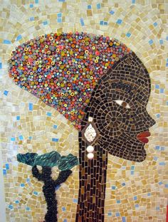 Mosaic Art - African Woman on Etsy, £284.16