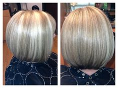 Blonde angled bob with highlights and lowlights