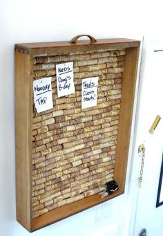 Old dresser drawers and corks become a handy memo board (and place to store your keys)