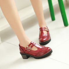 T Straps Women Thick Heel Shoes Plus Size