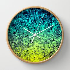 OMBRE LOVE Bold Beautiful Midnight Blue Navy Royal Blue Turquoise Mint Green Sunshine Yellow Vibrant Cosmic Starry Night Glitter Abstract Painting Cool Trendy Decorative Stylish Modern Home Decor Wall Clock by EbiEmporium - $30.00