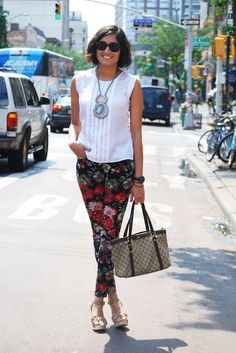 floral - with a short basic blouse and fab necklace #fashionista_com \\ @dressmeSue pins real outfits