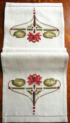 "Natalie Richards - Waterlily Table Scarf. Embroidered Linen. Redlands, California. Circa Early-21st Century. 48"" x 14-1/2""."