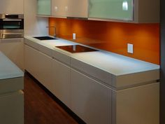 Backpainted glass backsplash available in variety of colors to match your design.