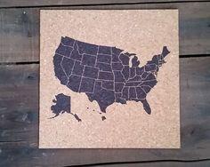 ******* 50 States USA CORK Push Pin Map Track Sales by RasurePrintsLLC