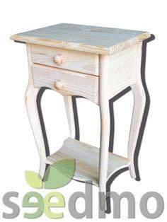 Comprar muebles en crudo mesita pata curva con 2 cajones low cost