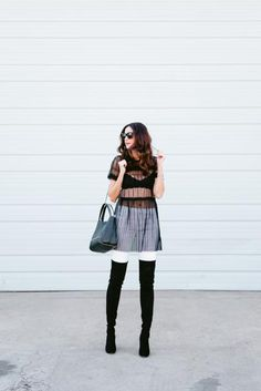 Amanda Miller wearing a black tulle top from Topshop with her favorite black suede over the knee boots