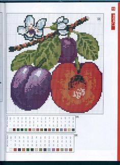 <3 Cross Stitch Fruit, Plastic Canvas Tissue Boxes, Embroidery, Crafts, Ph, Vegetables, Watch, Food, Cross Stitch Kitchen