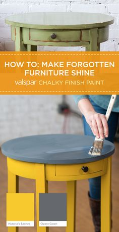 Get a timeless vintage look that never goes out of style with Valspar chalky finish paint and a Satin finish. Choose from over 40 tintable colors to give your project a personality all its own, like this end table in Victoria's Sachet and Opera Gown. Watch the how to video here: https://www.youtube.com/watch?v=ycvuqjaXwm8&index=3&list=PLGukLw5MDpOqu8UzljtmDv8_44iUhRjoG