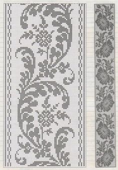 Filet Crochet, Crochet Patterns Filet, Crochet Lace Edging, Crochet Borders, Crochet Chart, Crochet Doilies, Thread Crochet, Cross Stitch Borders, Cross Stitch Designs