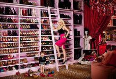Holy. Shit. Christina Aguilera's shoe closet is the epitome of shoe closets.