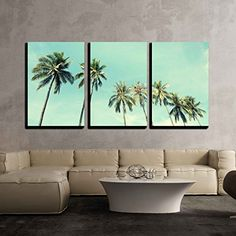 wall26  3 Piece Canvas Wall Art  Vintage Nature Photo of Coconut Palm Trees in Seaside  Modern Home Decor Stretched and Framed Ready to Hang  16x24x3 Panels -- Want to know more, click on the image. (This is an affiliate link)