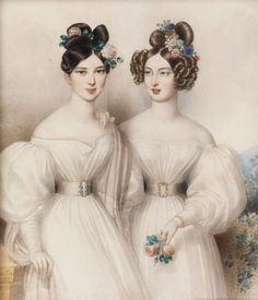 ohann Nepomuk Ender Portrait of Two Young Girls in White Dress and Flowers in Hair Historical Costume, Historical Clothing, Victorian Fashion, Vintage Fashion, Maria Theresia, Kaiser Franz, Portraits, Poses, Fashion Plates