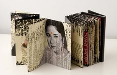 to make an accordian book, printing photos, rather than illustrations, on old pages. Moleskine by Juan Rayos 4