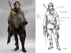 """Jyn's """"concho"""" look she wears while searching for her father on Eadu was inspired by Eastern looks combined with a poncho."""