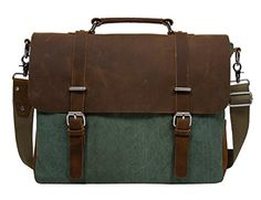 84bfd48ad7a8 ECOSUSI Vintage Canvas Leather 14.7