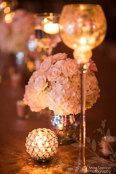 Pink and gold wedding reception decor. Flowers by Edge Designs Atlanta.