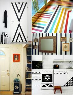 Tape it if you can't paint it! from: Feather's Flights {a creative, sewing blog}: 23 Ideas for Apartment Decorating