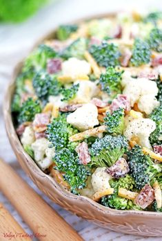 This Broccoli and Cauliflower Salad Recipe is one that's so easy to prepare but tastes flavorful, refreshing and satisfying! Shrimp Kabob Recipes, Fruit Salad Recipes, Shrimp Kabobs, Frugal Meals, Easy Meals, Broccoli Cauliflower Salad, Cauliflower Recipes, Sandwiches, Summer Salads With Fruit
