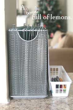 This is great for no paper piles. File folder on the counter..tabs are in coming and out going mail, To file, To Pay, sign and return, grocery lists and coupons