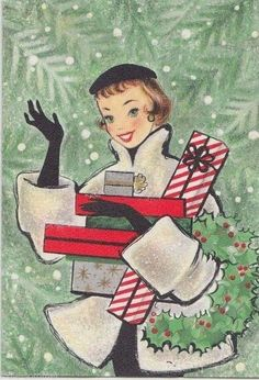 Vintage Christmas Card, Lovely Lady Waving With Christmas Presents! Vintage Christmas Images, Retro Christmas, Vintage Holiday, Christmas Pictures, Christmas Time, Xmas Pics, Christmas Glitter, Vintage Images, Vintage Greeting Cards