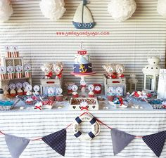 Mesa dulce marinera - sweet table -candy bar Valladolid - repostería creativa Valladolid Sailor Birthday, Sailor Party, Baby Birthday, Baby Party, Baby Shower Parties, Baby Shower Themes, Fiesta Baby Shower, Baby Boy Shower, Anchor Baby Showers
