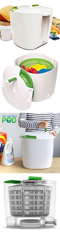 Laundry POD // Easy-to-use, eco-friendly, portable, washer designed to do small loads of laundry using no electricity and a minimal amount of water. Cleans clothes in less than 10 mins with a simple manual washing, spinning, and draining system! Genius! Perfect for delicates or dorm living!