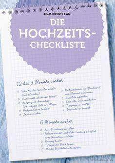 Die Hochzeits-Checkliste - Perfekt vorbereitet für die eigene Hochzeit!