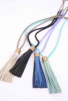 Cloud Nine Creative - Leather Tassel Necklace - Cornflower Blue