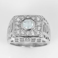 GENUINE 0.48 ct Aquamarine Men's Ring, size 8 - 925 Sterling Silver