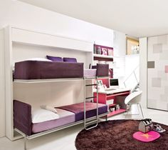 Lollisoft SD | ResourceFurniture - bunkbeds fold up into wall to make more floor space for kids to play!
