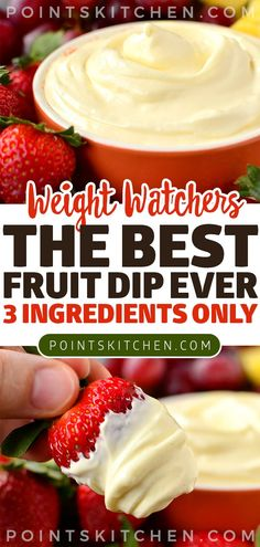 The Best Fruit Dip Ever - Recipes to Cook - Fruit Ideas Weight Watcher Desserts, Weight Watchers Snacks, Weight Watchers Dressing, Weight Watchers Smart Points, Ww Recipes, Fruit Recipes, Cooking Recipes, Party Recipes, Salad Recipes