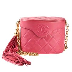 Chanel Vintage Pink Quilted Box Shoulder Bag | From a collection of rare vintage handbags and purses at https://www.1stdibs.com/fashion/handbags-purses-bags/
