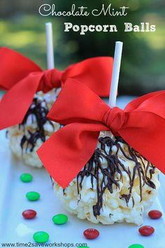 Chocolate Mint Popcorn Balls on time2saveworkshops.com #recipe
