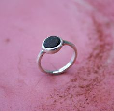 Silver ring with seastone from Basilicata, Italy. Created by Paniquò. Lost wax casting.