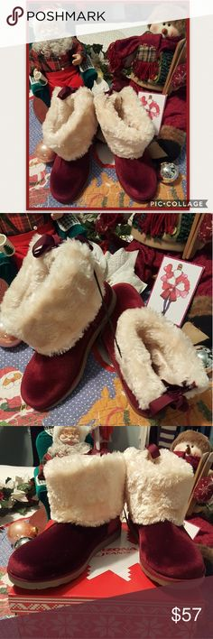 ❄ADORABLE BOOTS ❄ ❄MEMORY FOAM ADORABLE BURGUNDY BOOTS, CUTE TIE UP IN BACK❄  ❄SIZE 8 M Arizona Jean Company Shoes