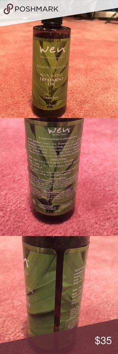 Wen Bamboo Green Tea Restorative Treatment Oil Wen Bamboo Green Tea Restorative Treatment Oil.  4 oz bottle.  It was only used one time and is still filled to the top of the label.  Comes from a smoke free and pet free home.  Sells on Wen website for $72.  Bundle and save! Wen Other