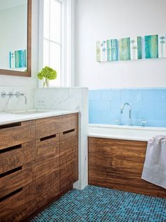 blue and wood bathrooms | So what does this have to do with today's post you ask? Well with all ...