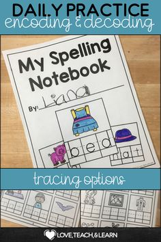 This CVC Notebook will help your students master the short vowel word families. Tracing is optional. Phonics Rules, Phonics Lessons, Spelling Activities, Teaching Phonics, Kindergarten Activities, Classroom Activities, Kindergarten Class, Writing Workshop, Writing Centers