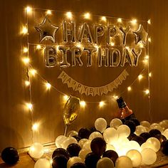 Happy Birthday Decor, Birthday Decorations At Home, Happy Birthday Foil Balloons, 18th Birthday Party, Birthday Party Decorations, Surprise For Birthday, Birthday Surprises For Him, Birthday Surprise Boyfriend, Birthday Background Design
