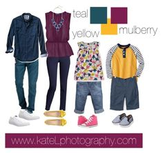 Teal + Yellow + Mulberry family outfit inspiration: what to wear for a family photo session in the spring or summer. Created by Kate Lemmon, www.kateLphotography.com