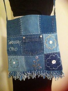 Recycled Blue Jean Patch Purse