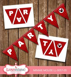Minnie Mouse Party Banner Minnie Mouse Birthday Party Printables LL-0057-05