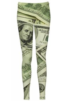 "$38 For an incredibly expensive look, try the ""Millionaire"" leggings. They will not only enrich your wardrobe, but also make you feel better. Although there are things that money cannot buy, having the ""Millionaire"" around is always nice. Add some luxury to your style."