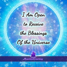 Today's Affirmation: I Am Open To Receive The Blessings Of The Universe <3 #affirmation #coaching It is not enough just to repeat words, while repeating the affirmation, feel and believe that the situation is already real. This will put more energy into the affirmation.