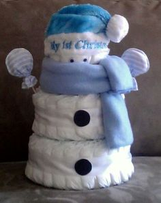 """My 1st Christmas"" 3 tier Snowbaby boy diaper cake made by CornerStorkBakery.com Perfect for that Special December baby! Can be made in pink as well! Order now!"